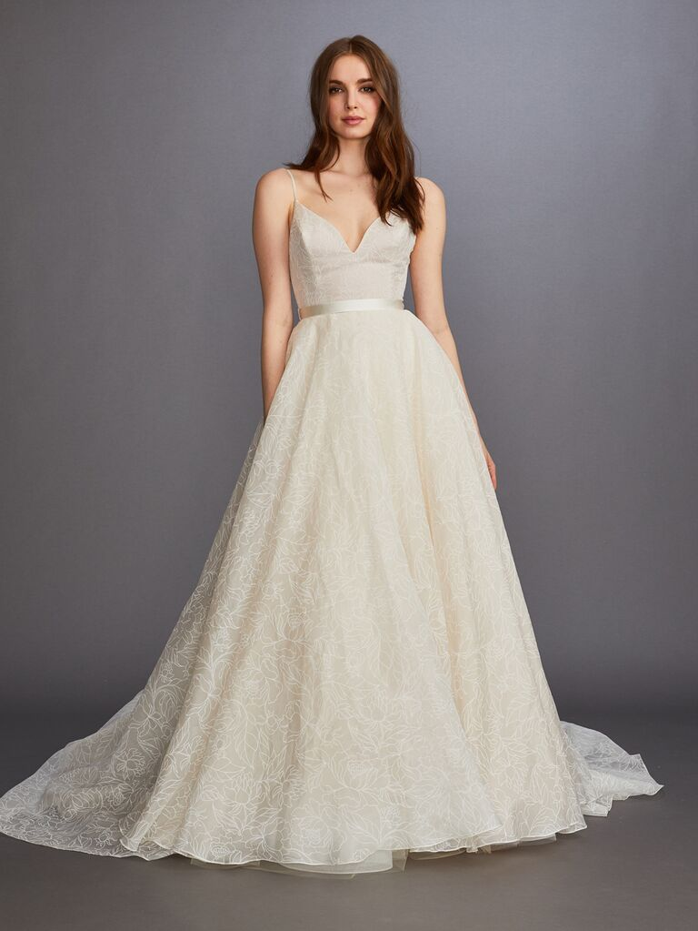 Lazaro Fall 2019 Bridal Collection ivory embroidered A-line wedding dress with spaghetti straps