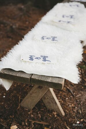 Wood Ceremony Benches with Faux Fur