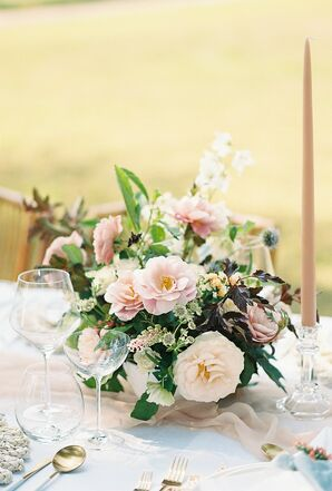 Romantic Flower Centerpiece with Pink Roses and Greenery