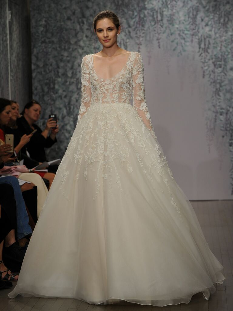 Monique Lhuillier wedding dress Fall 2016 Silk white/cameo embroidered tulle long sleeve scoop neck ball gown