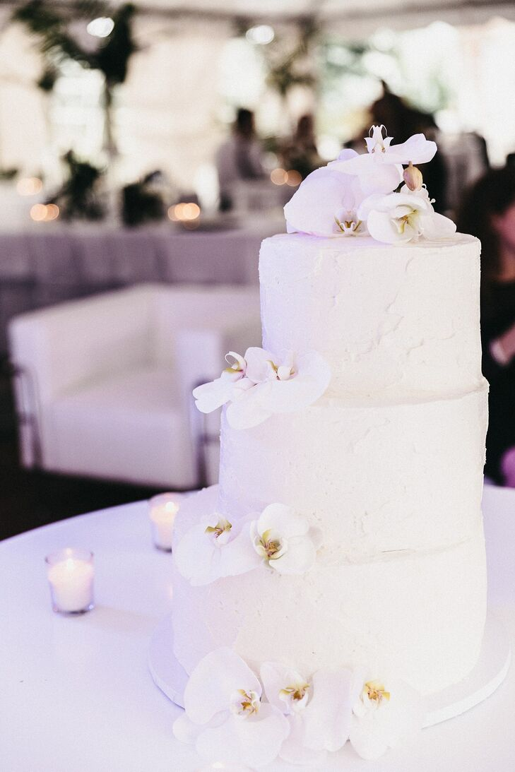 Asymmetric Buttercream Cake with White Orchids