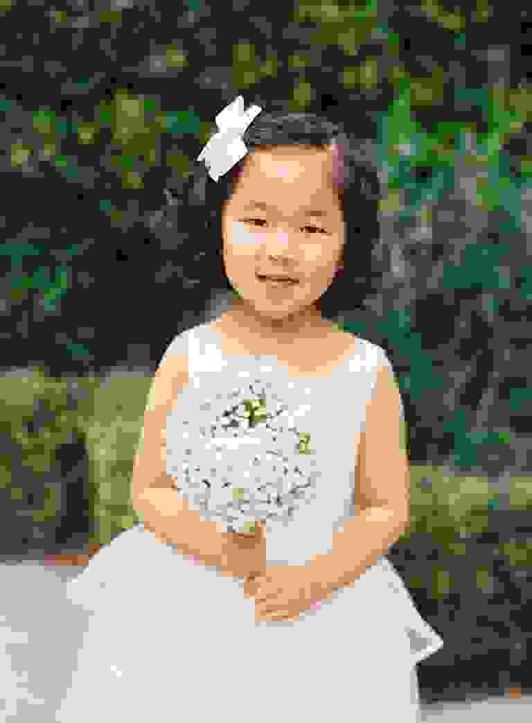 Flower girl dress and bouquet