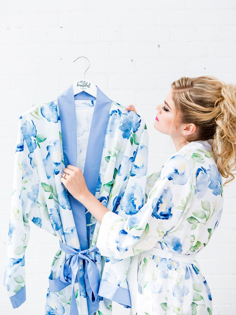Blue floral bridesmaid robe
