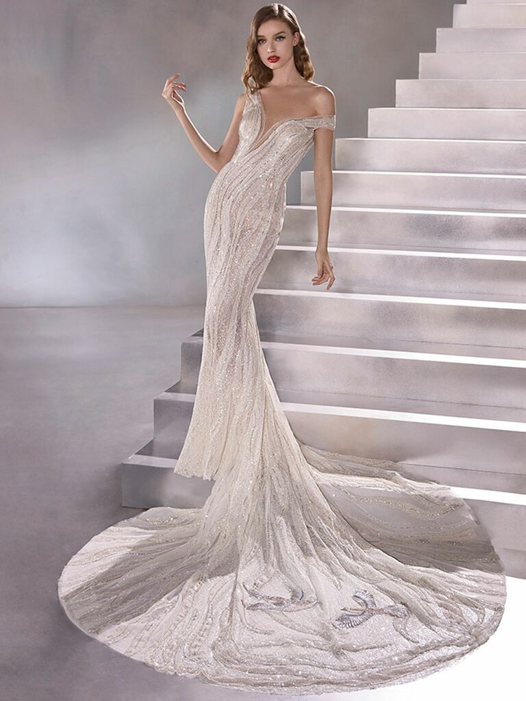 Atelier Provonias wedding dress off-the-shoulder beaded mermaid gown