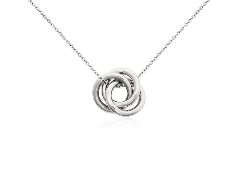 Simple platinum knot pendant 20th anniversary gift