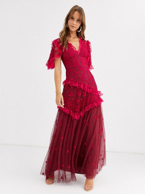 Needle & Thread embroidered v-neck gown with sheer detail in red