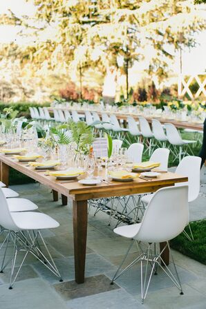 Long Banquet Table at Modern Backyard Reception