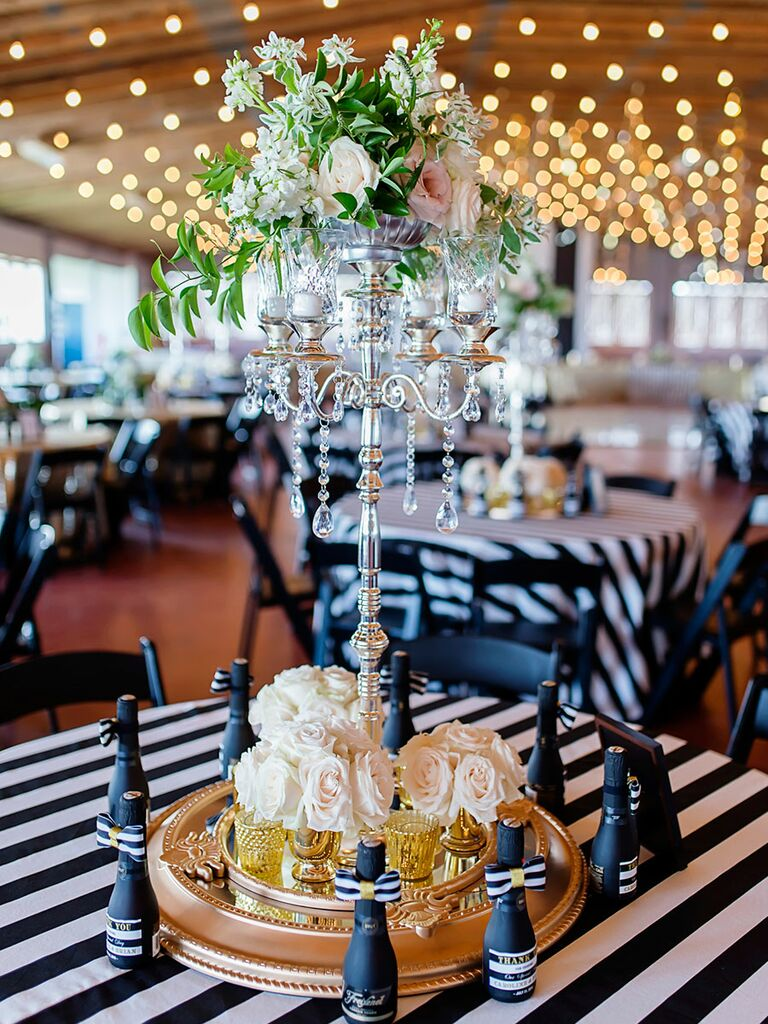 Elegant wedding centerpiece with crystals
