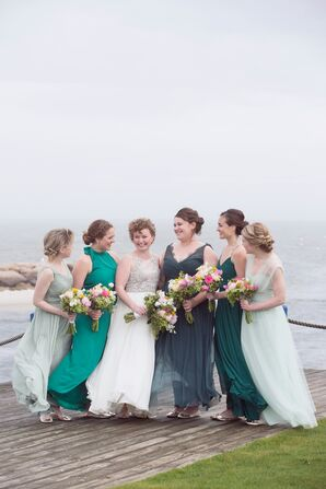 Mismatched Green Ombré Bridesmaid Dresses