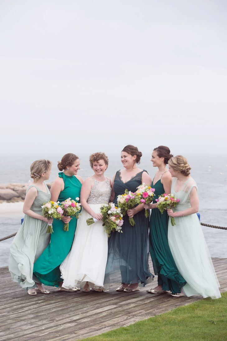 Mismatched Green Ombré Bridesmaid Dresses