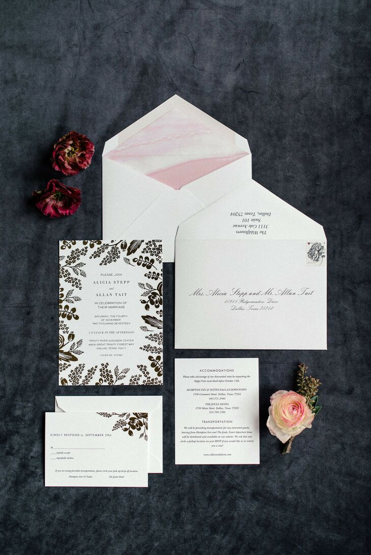 Glamorous Invitation with Gold Foil Details and Watercolor Envelope Liner