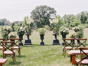 Green and White Living Ceremony Backdrop at Salamander Resort & Spa