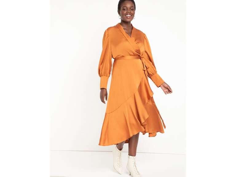 Golden yellow midi wrap dress with bishop sleeves