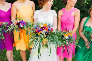 Bright, Colorful Bouquets with Sunflowers, Roses, Succulents and Greenery