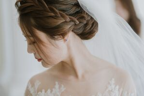 Bride with Braided Updo and Simple Earrings