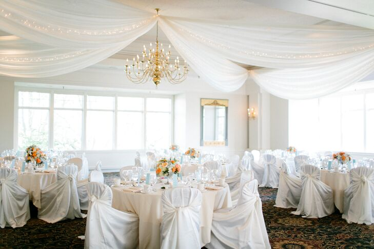 """We wanted to have the wedding in Wayzata because that was where our relationship started and we have lots of wonderful memories there,"" says Katie. They chose to host the spring-inspired affair at the Wayzata Country Club, the elegant, light-filled ballroom working perfectly with the feel of the wedding's theme. Touches like suspended panels of light, airy fabric interwoven with strands of fairy lights and satin chair coverings worked together to give the reception a whimsical, romantic vibe."