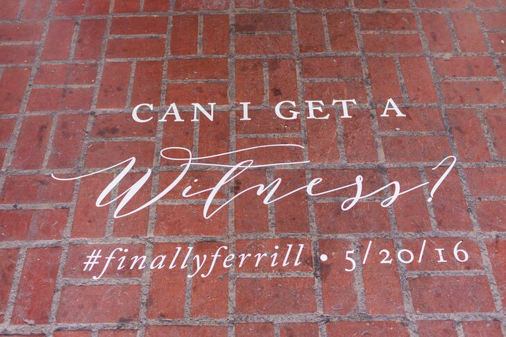 Ceremony Sign and Hashtag on a Brick Wall