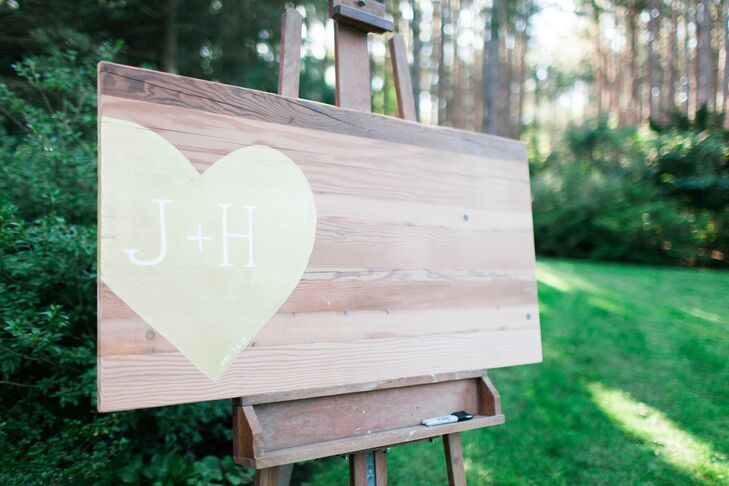 Painted Heart Wood Wedding Sign
