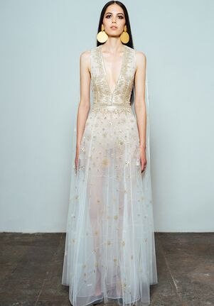 CUCCULELLI SHAHEEN Constellation Dress with Cape A-Line Wedding Dress