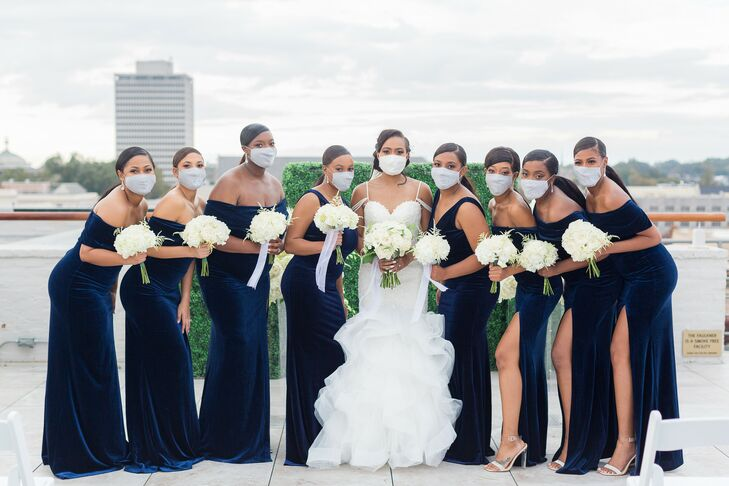 Bridal Party Wearing Masks During Wedding at The Faulkner in Jackson, Mississippi