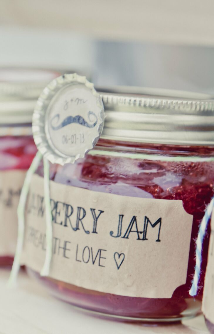 Megan and Josh made their own homemade strawberry jam for guests to take home with them after the wedding.