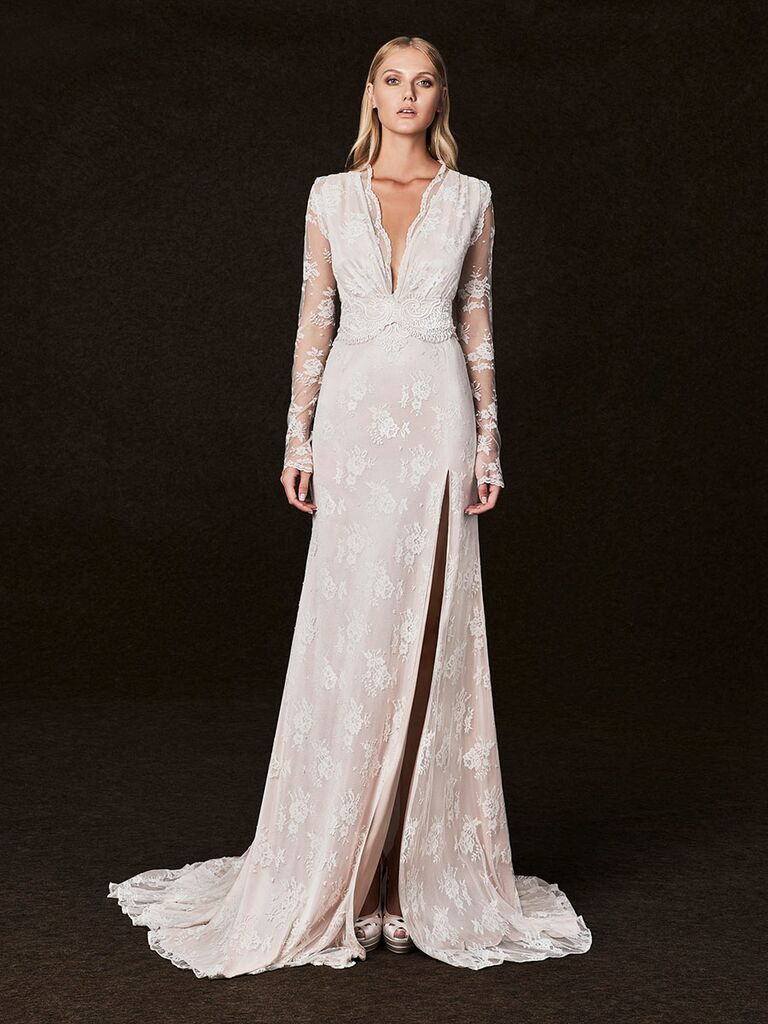 Victoria Kyriakides Fall 2017 long sleeve v-neck wedding dress with blush undertones and allover lace