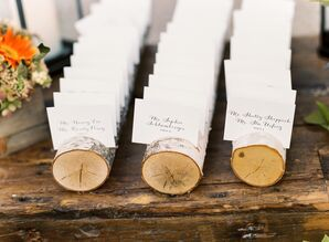 Formal Hand-Lettered Escort Cards in Birch Holder
