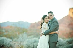 Lace Gown at Vintage-Inspired Desert Wedding