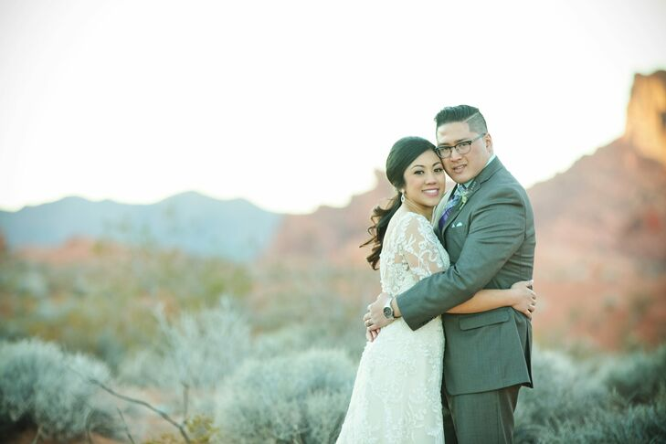 Genesis Docena (26 and a high school teacher) married Oliver Acosta (28 and an account manager) in a traditional church ceremony in Las Vegas, Nevada.