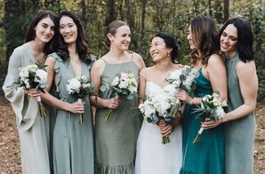 Bohemian Bridesmaids in Shades of Green