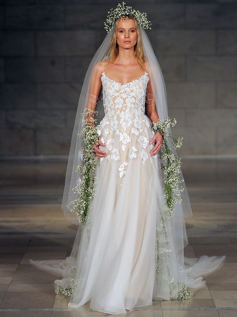 Reem Acra Fall 2018 guipure embroidered lace wedding dress