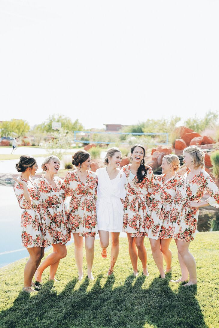 A great gift for bridesmaids is cute, matching getting-ready robes.