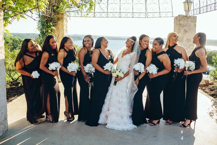 African-American Bride with Bridesmaids in Long, Black Gowns