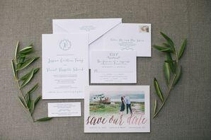 Whimsical Sage Letterpress Wedding Invitations