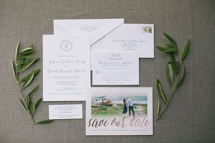 Long before Jessica and Brent's friends and family stepped foot on the Vintage Estate's vast 23-acre property in Yountville, California, they were immersed in the site's chic country appeal with letterpress invitations featuring a custom monogram and whimsical script-inspired fonts in a pale sage green.