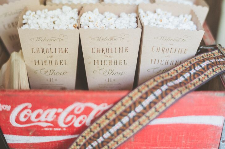 As guests arrived at the ceremony, they were greeted by cartons of freshly popped popcorn to enjoy during the short and sweet celebration in Gladwyne, Pennsylvania. The cartons doubled as the ceremony programs, underscoring Caroline and Michael's playful and casual vision.
