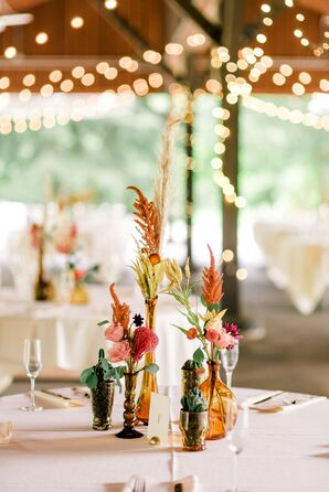 Small Eclectic Centerpieces with Mismatched Vases