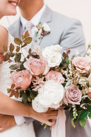 Romantic Bouquet of Blush Pink Roses, Leaves and Blossoms