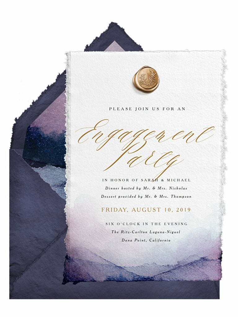 Purple watercolor engagement party invitation