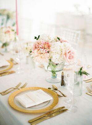 Blush Dahlia, Rose and Hydrangea Centerpieces