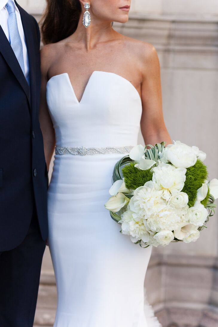 Modern Vera Wang Wedding Dress and White Peony Bouquet