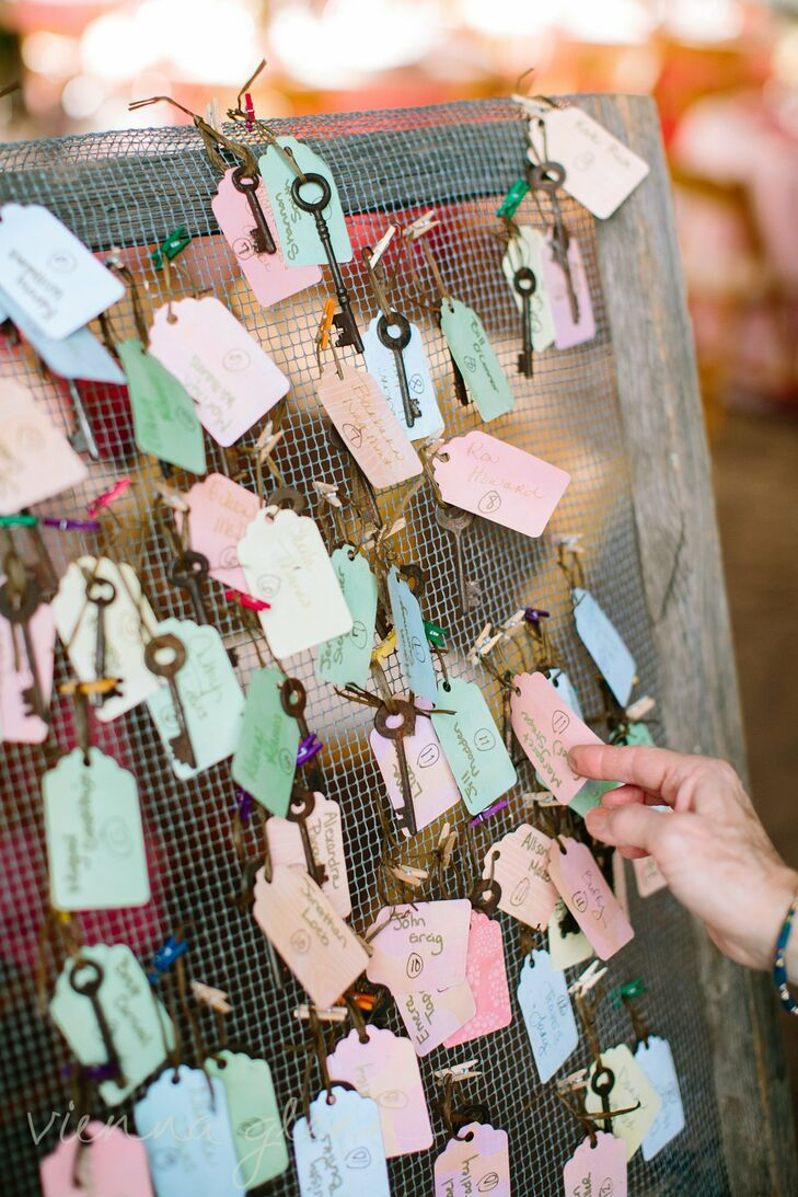 Colorful vintage gift tags tied to antique keys displayed the names of each guest and their seating assignment. The escort cards were displayed on chicken wire in a distressed wooden frame for a rustic country look.