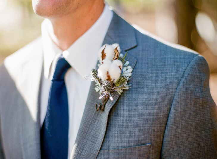 Boutonniere with Cotton and Thistle