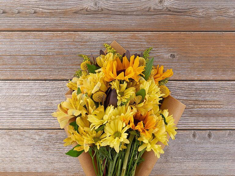Bright yellow bouquet gift for sister-in-law