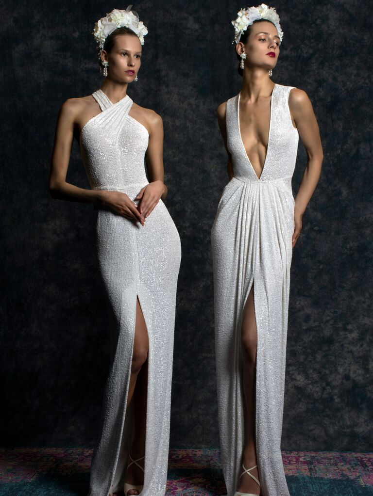 Naeem Khan Spring 2020 Bridal Collection sexy wedding dresses with high slits