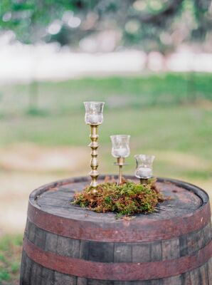 Three Level Ceremony Candles on Wooden Barrel