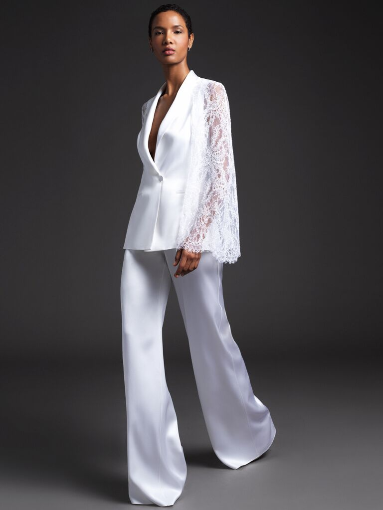 Cushnie Spring 2020 Bridal Collection bridal pantsuit with lace bell sleeves