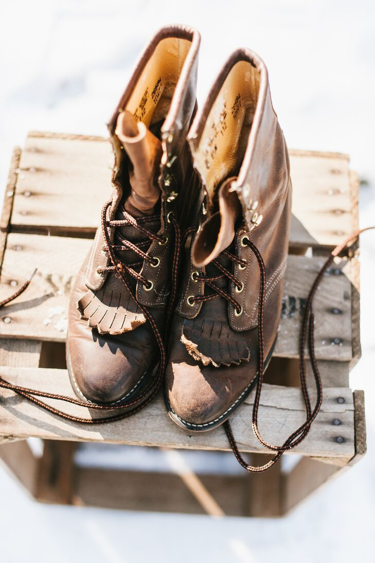 Paula selected a vintage pair of brown boots that she laced up for the day. She wanted shoes that felt comfortable and that would make frolicking in the snow easy.