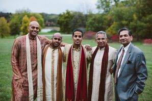 Groom is Joined by Groomsmen in Traditional Indian Wedding Attire
