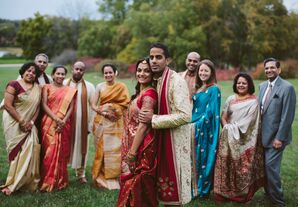 Indian Wedding Party Pose with the Bride and Groom